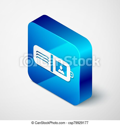 Isometric Wallet icon isolated on grey background. Purse icon. Cash savings symbol. Blue square button. Vector Illustration - csp79929177