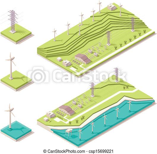 Isometric wind farm - csp15699221
