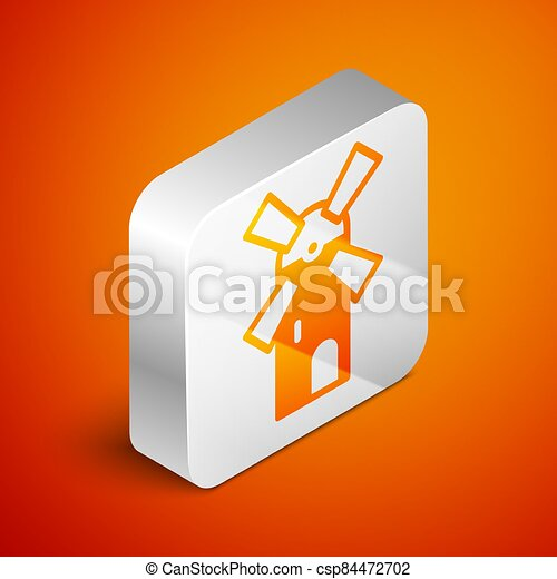 Isometric Windmill icon isolated on orange background. Silver square button. Vector - csp84472702