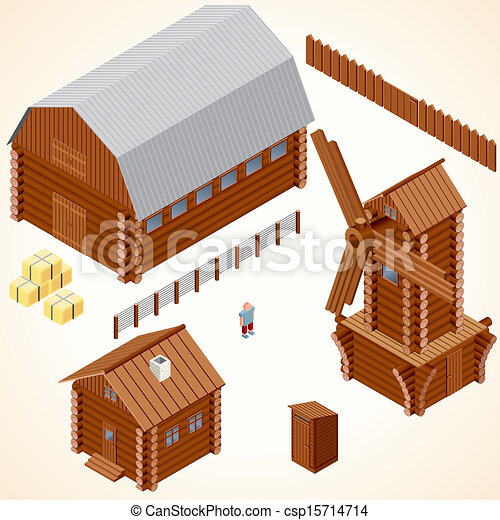 Isometric Wooden Cabins and House. Vector Clip Art - csp15714714
