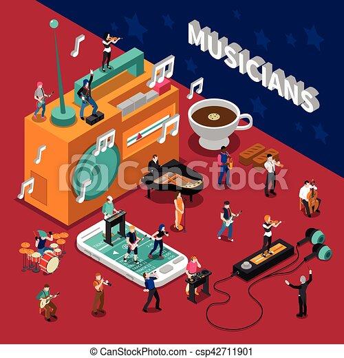 isometric, zeneértők, zenemű, emberek - csp42711901
