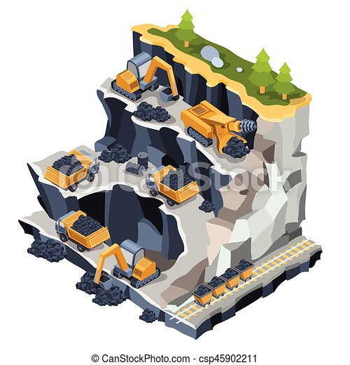 Isometrico cava minerario illustrazione carbone for Disegno 3d free