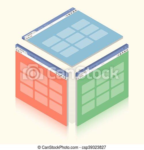 isometrico, colorito, semplice, illustrazione, fondo., finestra, vettore, bianco, browser - csp39323827