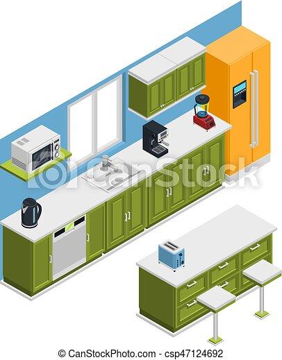 isometrico, cucina, composizione, mobilia