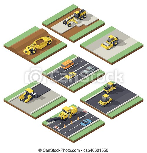 isometrico, elementi, esposizione, tecnica, adatto, infographic, manutenzione, usando, costruzione, palcoscenici, o, strada - csp40601550