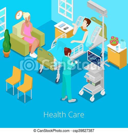 Isometrico paziente stanza ospedale illustrazione for Disegnare piantina stanza