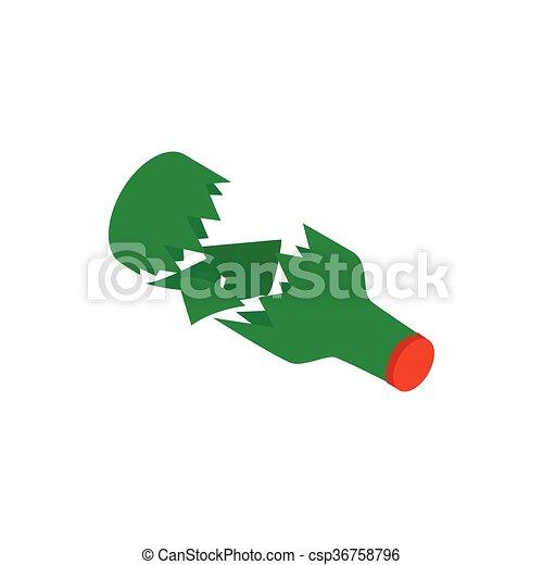 Isometrico Stile Rotto Verde Bottiglia Icona 3d Isometrico
