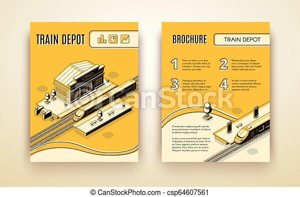 isometrico, treno, vettore, sagoma, opuscolo, deposito - csp64607561