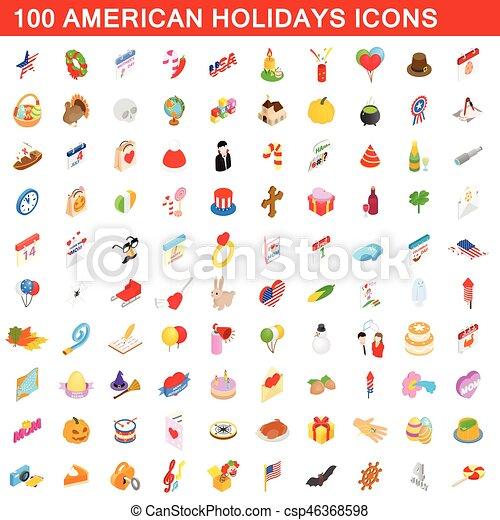 100 amerikanische Feiertagskonsole, isometrische 3D-Stil - csp46368598