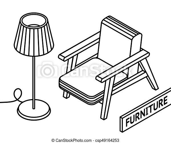 Isometrisch Grobdarstellung Furniture Boden Sessel Hintergrund