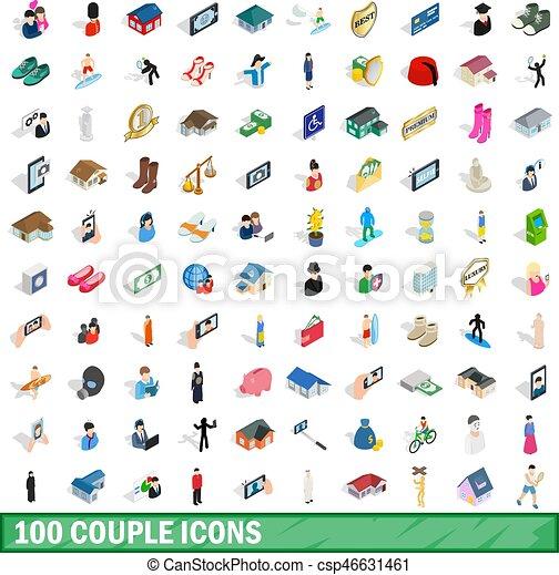 100 Paar Icons Set, isometrische 3D-Stil - csp46631461