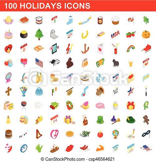 isometrisch, heiligenbilder, satz, stil, feiertage, 100, 3d - csp46564621