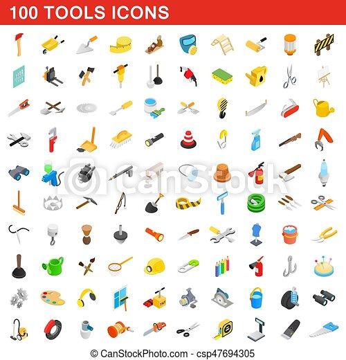 isometrisch, heiligenbilder, satz, stil, 100, werkzeuge, 3d - csp47694305