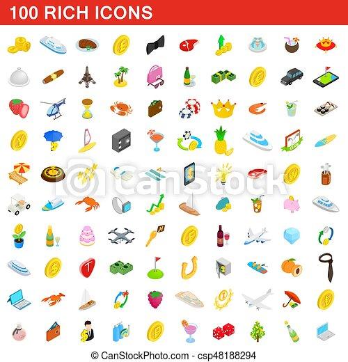 100 reiche Icons Set, isometrische 3D Stil - csp48188294