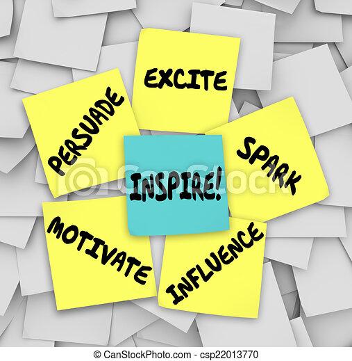 ispirare, influenza, note, motivare, eccitare, appiccicoso, persuadere, scintilla - csp22013770