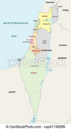 Israel administrative map Israel administrative and vector
