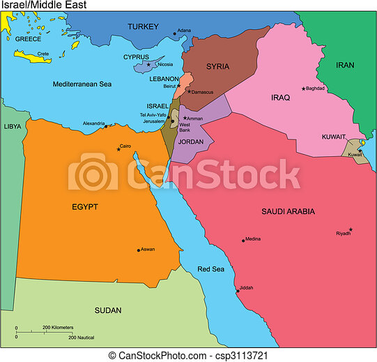 Israel and middle east countries names Israel and middle
