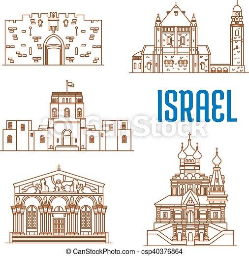Israel Architecture Landmarks Sightseeing Israel Vector Thin Line