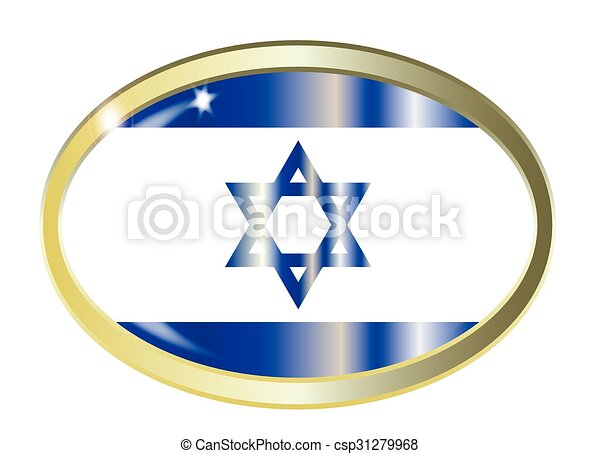 Israel Flag Oval Button - csp31279968