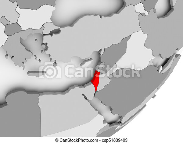 Israel in red on grey map illustration of israel highlighted in red israel in red on grey map csp51839403 gumiabroncs Images