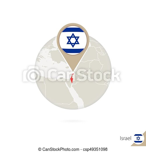 Israel Map And Flag In Circle. Map Of Israel, Israel Flag Pin. Map Of Israel  In The Style Of The Globe. Vector Illustration.
