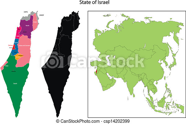 Israel map Map of administrative divisions of israel eps vectors