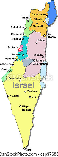Israel Map Color Israel Vector Map With Regions Over White