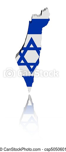 Israel Map Flag With Reflection   Csp5050601
