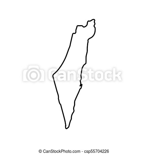 Israel Map Teritory Icon, Outline Style   Csp55704226