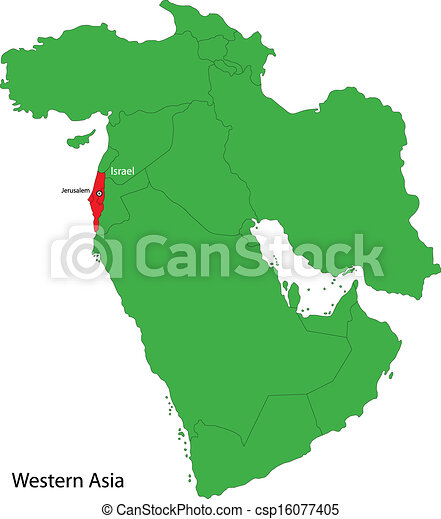 Israel map Location of israel on western asia vector clipart