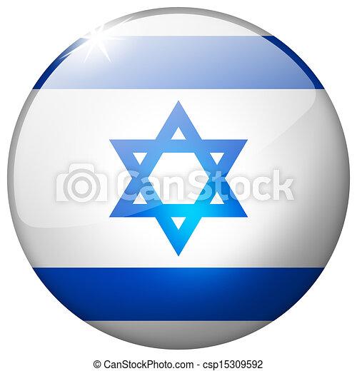 Israel Round Glass Button - csp15309592