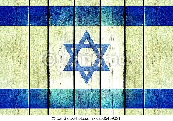 Israel wooden grunge flag. - csp35459021