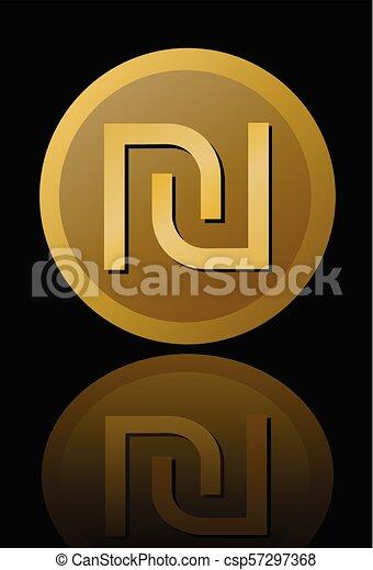 Israeli Currency Shekel Symbol Elegant Minimalist Circle Gold