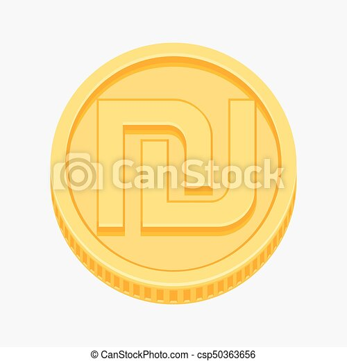 Israeli Shekel Symbol On Gold Coin Israeli Shekel Currency Symbol