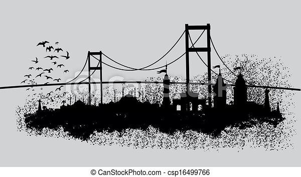 istanbul big city vector art - csp16499766