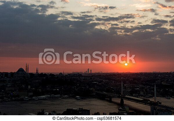 istanbul cityscape at sunset - csp53681574