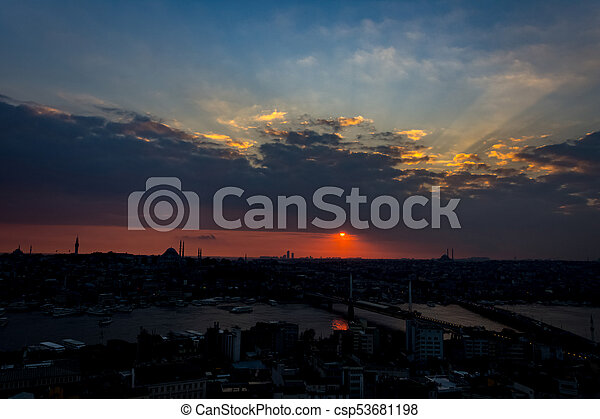 Istanbul cityscape at sunset - csp53681198