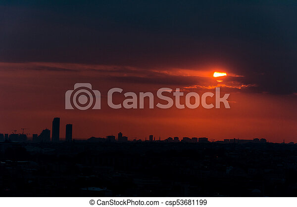 istanbul cityscape at sunset - csp53681199