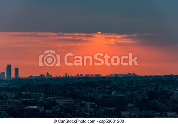 Istanbul cityscape at sunset - csp53681200