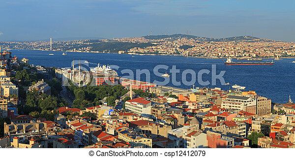 Istanbul Panorama at sunset - csp12412079