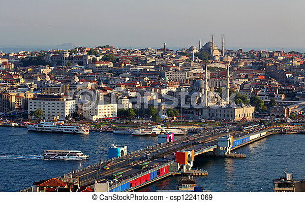 Istanbul Panorama at sunset - csp12241069