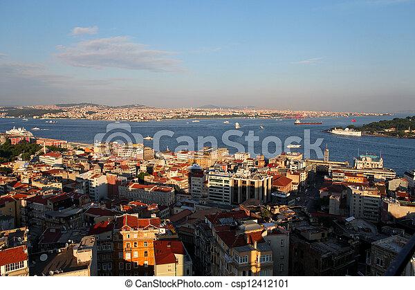 Istanbul Panorama at sunset - csp12412101