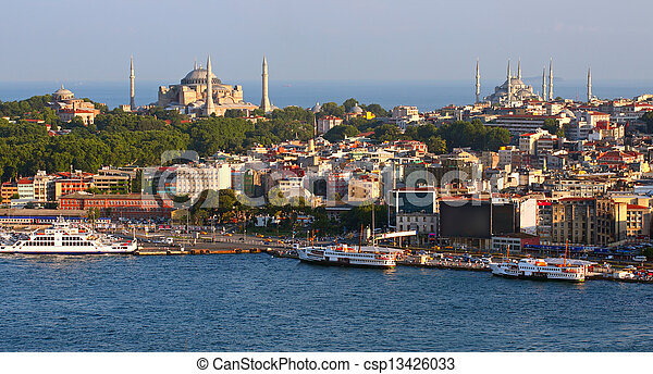 Istanbul Panorama at sunset - csp13426033