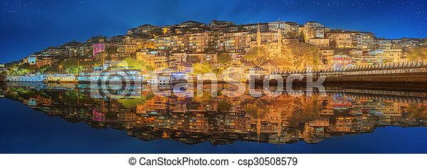 Istanbul skyline from Galata bridge by night - csp30508579