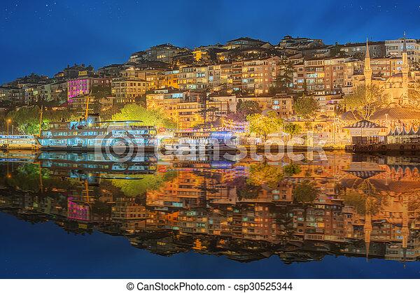 Istanbul skyline from Galata bridge by night - csp30525344