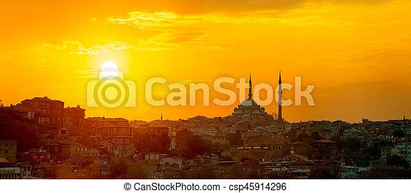 Istanbul sunset panorama - csp45914296
