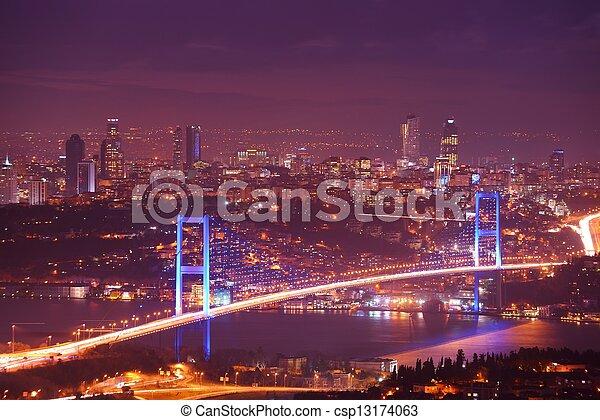 Istanbul Turkey Bosporus Bridge - csp13174063