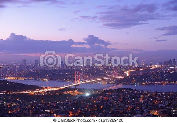 Istanbul Turkey Bosporus Bridge - csp13269420