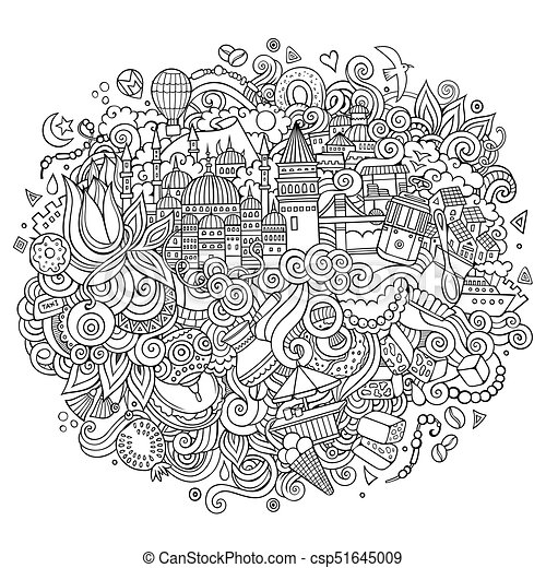 Istanbul vector hand drawn outline illustration - csp51645009