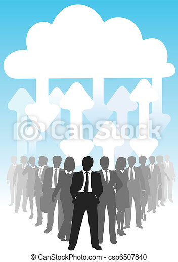 IT arrows connect business people cloud computing - csp6507840
